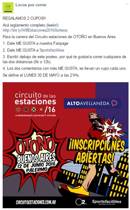 Circuito Estaciones OTOÑO 2016 - Flyer de sorteo